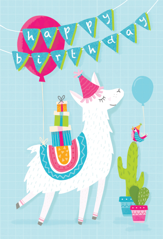 Llama Drama Birthday Card Free Greetings Island