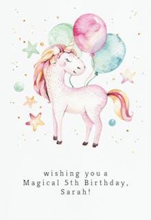 Loveable unicorn - Happy Birthday Card