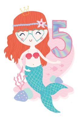 5th birthday Mermaid - Birthday Card