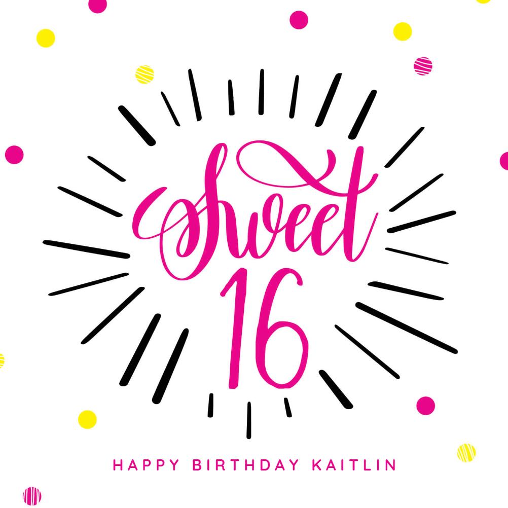 Modern Sweet 16 - Birthday Card (Free) | Greetings Island