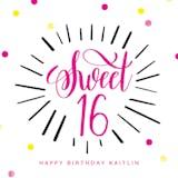 Modern Sweet 16 - Happy Birthday Card