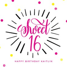 Modern Sweet 16 - Birthday Card