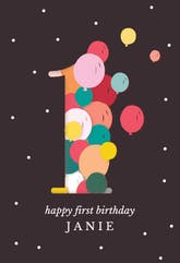 One year balloons - Happy Birthday Card