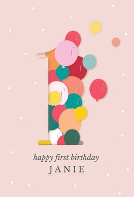 One year balloons - Happy Birthday Card