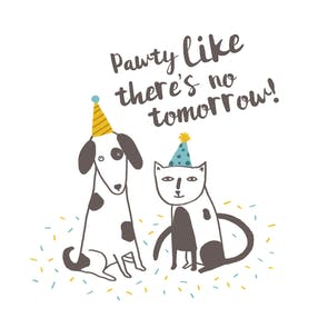 Pawty Time - Happy Birthday Card