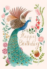Peacock & flowers - Happy Birthday Card