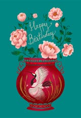 Peony vase - Happy Birthday Card
