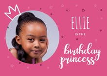 Photogenic Princess, a pink birthday princess card with a personalized picture