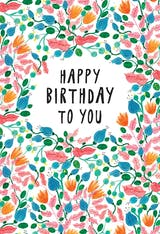 Pink Leaves - Happy Birthday Card
