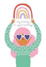 Rainbow girl - Happy Birthday Card