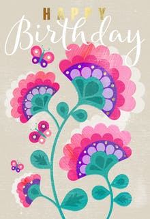Retro Floral - Birthday Card