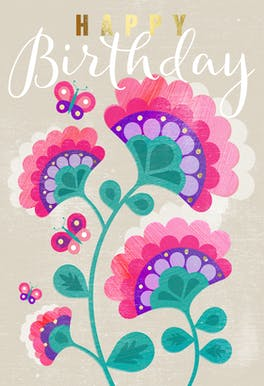 Retro Floral - Happy Birthday Card