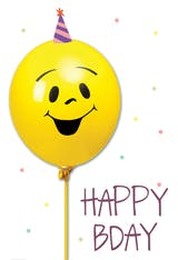 Smiley Balloon, a cute and fun happy bday card for kids with a smiley yellow balloon wearing a birthday party hat