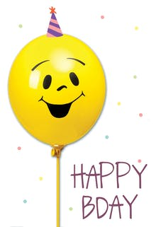Smiley Balloon - Happy Birthday Card