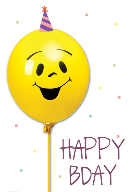 Smiley Balloon A Cute And Fun Happy Bday Card For Kids With Yellow