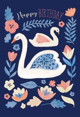 Swan Song - Happy Birthday Card