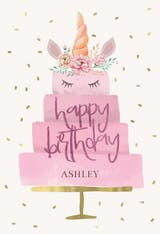 Unicorn Cake - Happy Birthday Card