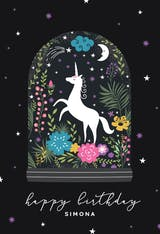 Unicorn Globe - Happy Birthday Card