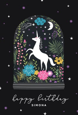 Unicorn Globe - Birthday Card
