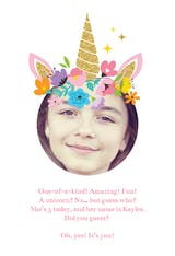 Unicorn - Happy Birthday Card