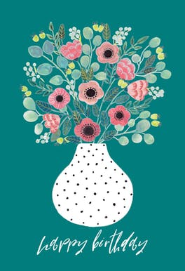 Vase - Happy Birthday Card