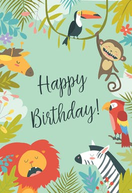 Wild Animals - Happy Birthday Card