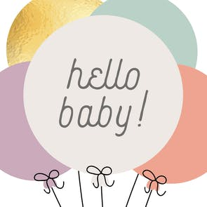 Baby Balloons - Baby Shower & New Baby Card