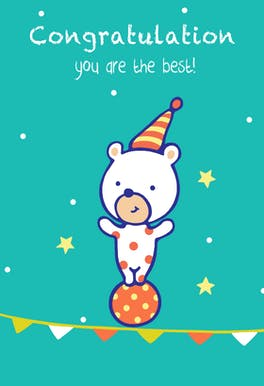 Congratulations Bear - Congratulations Card