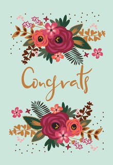 floral congrats wedding congratulations card