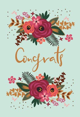 Floral Congrats - Printable Wedding Congratulations Card