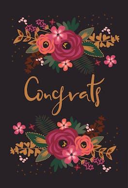 Floral Congrats - Wedding Congratulations Card