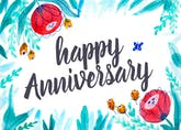 Floral - Happy Anniversary Card