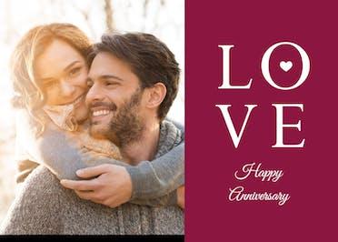 Love - Happy Anniversary Card