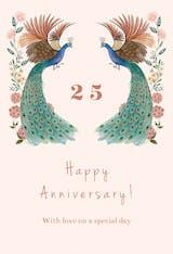 Peacock & flowers - Happy Anniversary Card