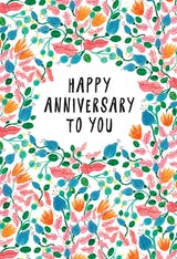 Pink Leaves - Happy Anniversary Card