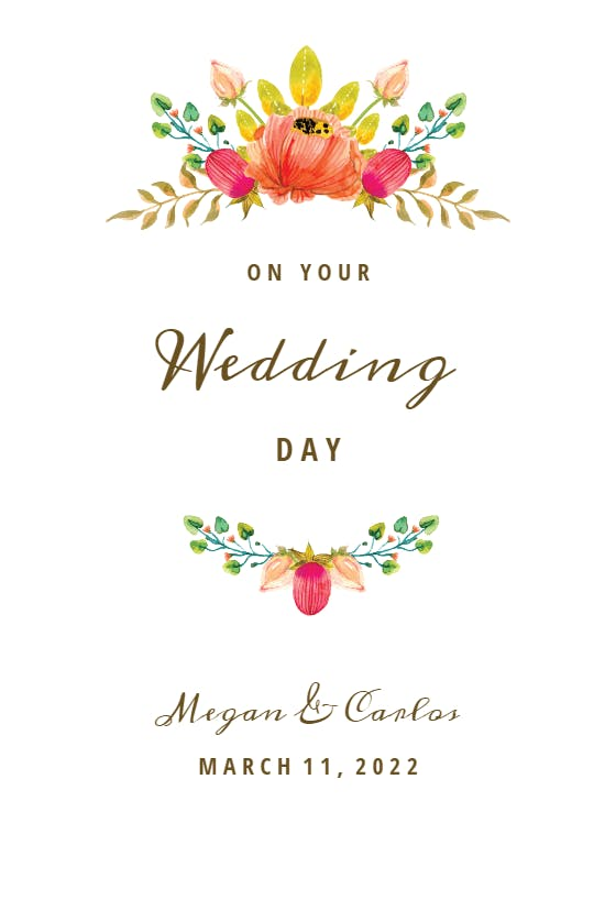 Watercolour Congratulations Wedding Card Newly Married Couple Greeting Card Personalized Wedding Card Personalised Wedding Happy Couple