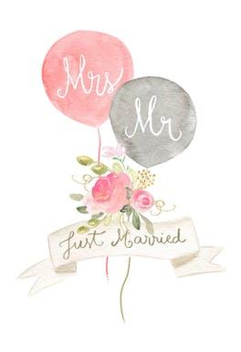Newlywed balloons - Wedding Congratulations Card