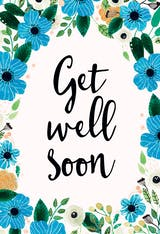 Blue & Orange - Get Well Soon Card