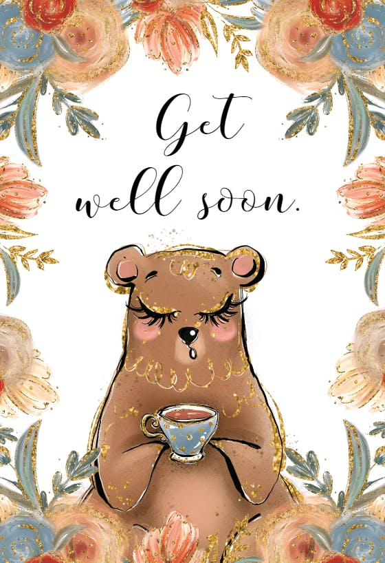Handmade Greeting Card Teddy Bear Greeting Card Get Well Card Thinking of You Card Kids Get Well Card With Envelope