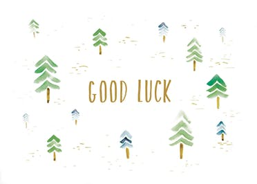 Watercolor forest - Good Luck Card
