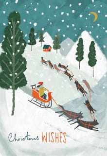 Dog Sledge - Tarjeta De Navidad