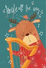 Harping reindeer - Christmas Card