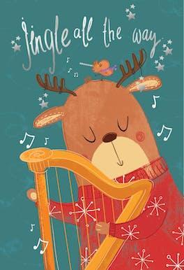Harping reindeer - Card