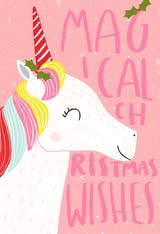 Holly Pink Unicorn - Christmas Card