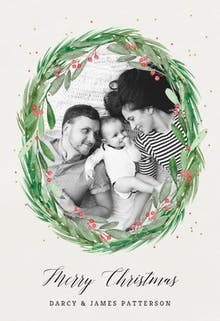 Holly wreath photo - Christmas Card