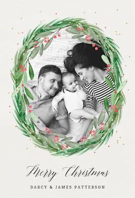 Holly wreath photo - Card