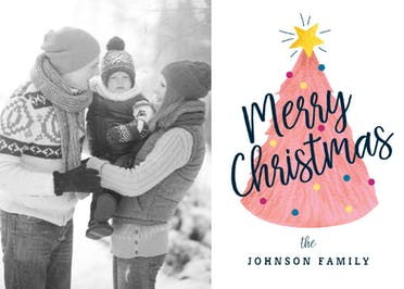 Pink Tree Photo - Christmas Card
