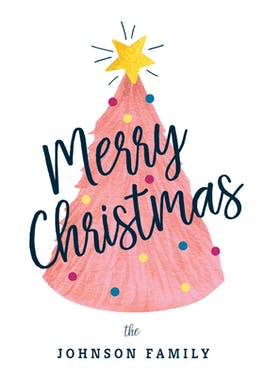 Pink Tree - Christmas Card