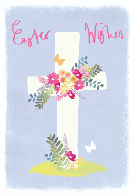 graphic regarding Free Printable Easter Cards Religious named Floral cross - Easter Card (Cost-free) Greetings Island