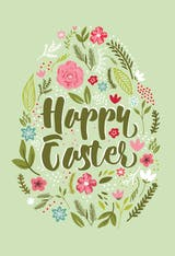 Floral Egg - Easter Card